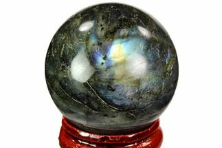 "1.45"" Flashy, Polished Labradorite Sphere - Great Color Play For Sale, #105773"