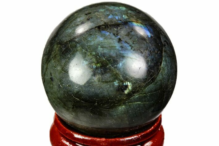 "1.3"" Flashy, Polished Labradorite Sphere - Great Color Play"