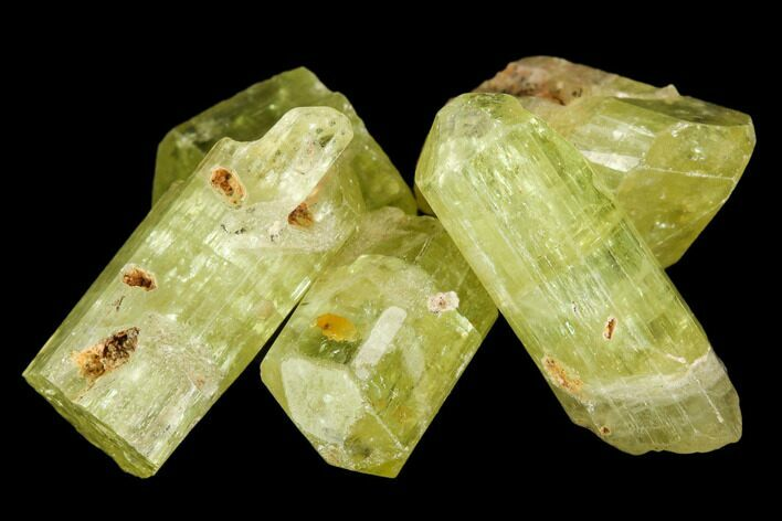 "Five Yellow Apatite Crystals (.5"" - 1"") - 5 Pieces"
