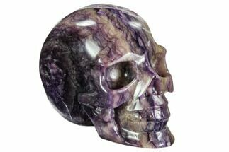 "Buy 5.8"" Carved, Purple Fluorite Skull - China - #108772"