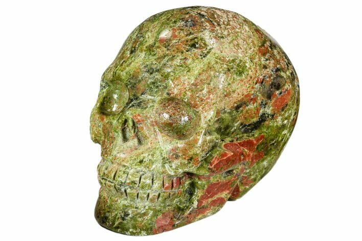 "2.4"" Carved, Unakite Skull - South Africa"