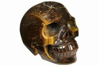 "3.9"" Polished Tiger's Eye Skull  For Sale, #110111"