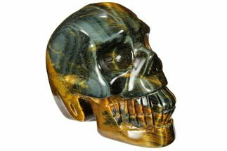 "2.35"" Polished Tiger's Eye Skull - Crystal Skull For Sale, #111812"
