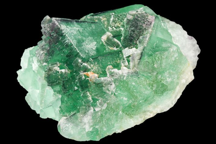 "2.5"" Green Fluorite Crystal Cluster with Stepped Aftergrowth - China"