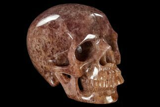 "Buy 6"" Realistic, Carved, Strawberry Quartz Crystal Skull - #116293"