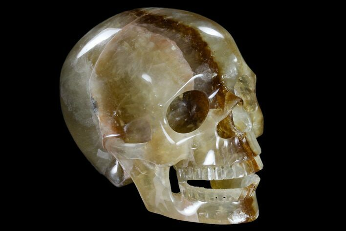"5.9"" Realistic, Carved Yellow Fluorite Skull - China"