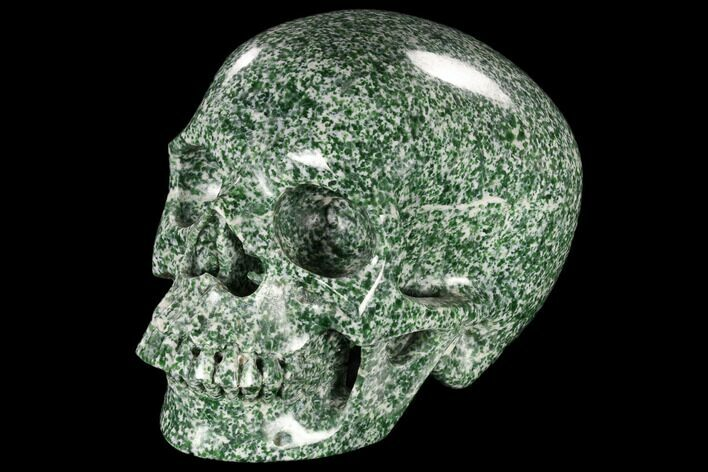 "6.1"" Realistic, Polished Hamine Jade Skull - India"