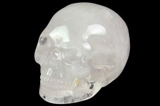 "2"" Realistic, Brazilian Rose Quartz Crystal Skull For Sale, #116465"