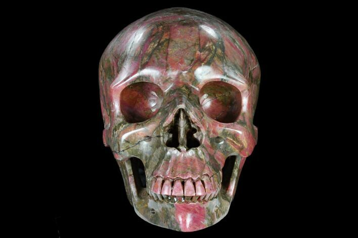 "7.3"" Realistic, Carved Rhodonite Skull - Madagascar"