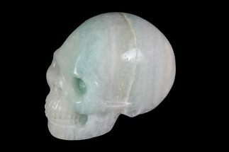 "Buy 2"" Realistic, Carved, White and Green Jade Skull  - #116563"