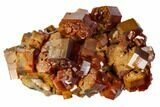 "2"" Red & Tan Vanadinite Crystal Cluster With Druzy Quartz - Morocco - #116756-1"