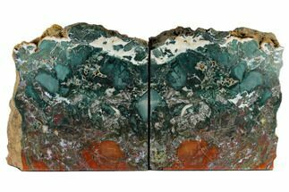 "7.9"" Green & Red Jasper Replaced Petrified Wood Bookends - Oregon For Sale, #117223"