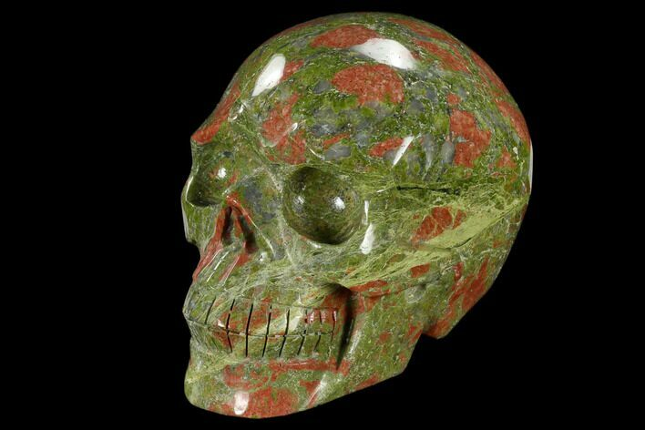 "4.9"" Carved, Unakite Skull - South Africa"