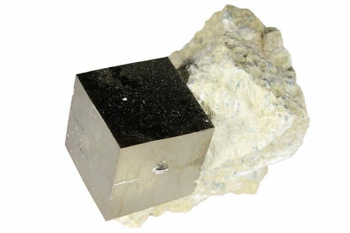 ".74"" Shiny, Natural Pyrite Cube In Rock - Navajun, Spain"