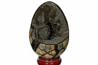 "6.9"" Septarian ""Dragon Egg"" Geode - Black Crystals For Sale, #121256"