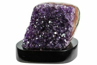 "Buy 3.4"" Tall, Dark Purple Amethyst Cluster With Wood Base- Uruguay - #121456"