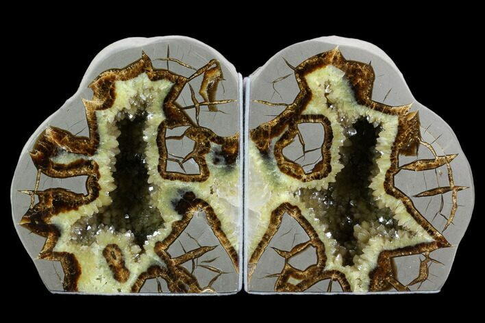 "5.6"" Tall, Crystal Filled Septarian Geode Bookends - Utah"