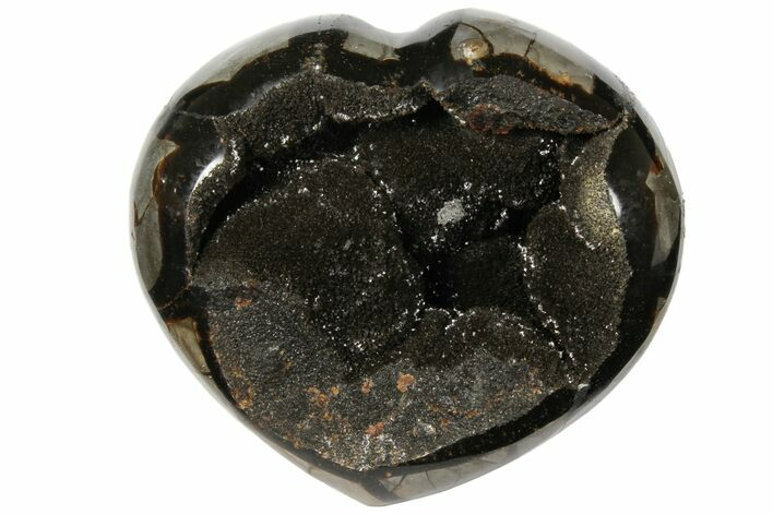"5.3"" Polished Septarian Geode Heart - Black Crystals"