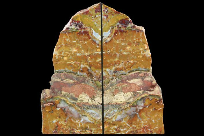 "11.3"" Red And Yellow Jasper Replaced Petrified Wood Bookends - Oregon"