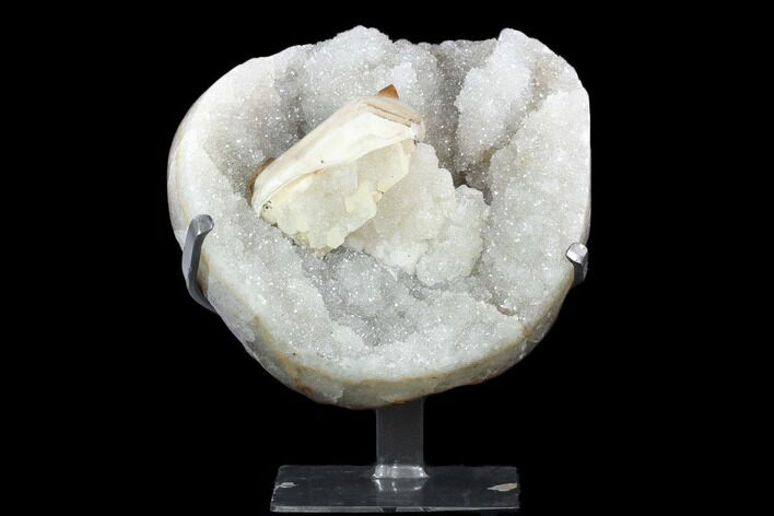 "11.1"" Quartz & Calcite Crystal Cluster on Metal Stand - Uruguay"