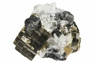 Pyrite, Sphalerite & Quartz - Fossils For Sale - #126600