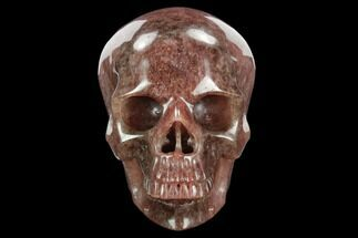 "Buy 5"" Realistic, Carved Strawberry Quartz Crystal Skull - #127570"