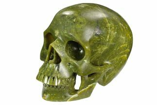 "5"" Realistic, Polished Jade (Nephrite) Skull For Sale, #127589"