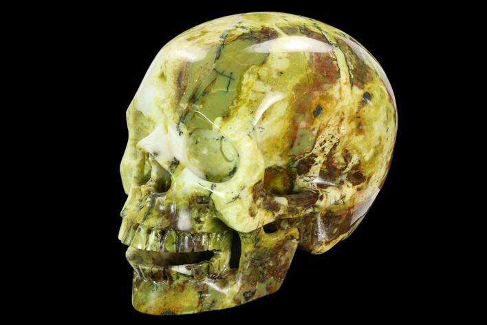 "5"" Realistic, Polished ""Yellow Turquoise"" Jasper Skull"