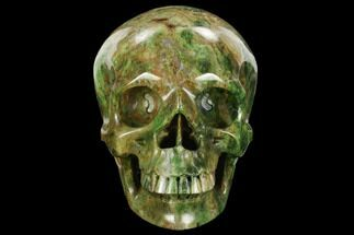 "5"" Realistic, Carved Green Stone Verdite (Fuchsite) Skull - Africa For Sale, #127646"