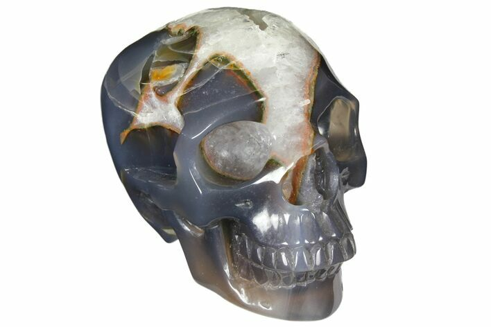 "4.1"" Polished Agate & Quartz Crystal Skull - Madagascar"