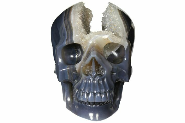 "6.9"" Carved Agate & Crystal Skull With Quartz Pocket - Madagascar"