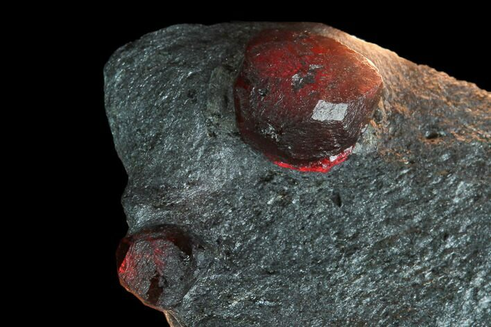 Two Red Embers Garnets in Graphite - Massachusetts