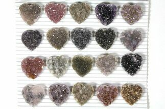 Buy Wholesale: Druzy Amethyst/Quartz Heart Clusters (20 Pieces) - #127588