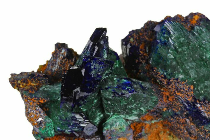 "2"" Azurite Crystals with Malachite - Morocco"