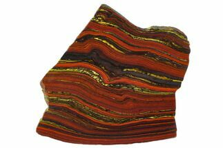"5.2"" Polished Tiger Iron Stromatolite - 3.02 Billion Years For Sale, #129218"