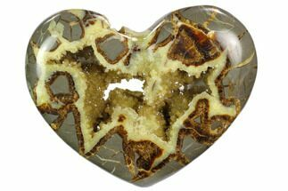 "5.9"" Polished Utah Septarian Heart - Beautiful Crystals For Sale, #129281"