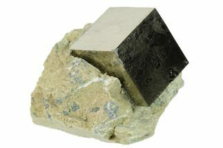 ".89"" Shiny, Natural Pyrite Cube In Rock - Navajun, Spain For Sale, #131153"