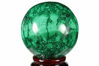 "Buy 2.35"" Flowery, Polished Malachite Sphere - Congo - #131821"