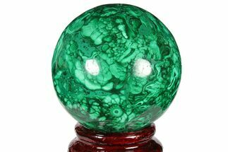"2.15"" Flowery, Polished Malachite Sphere - Congo For Sale, #131831"