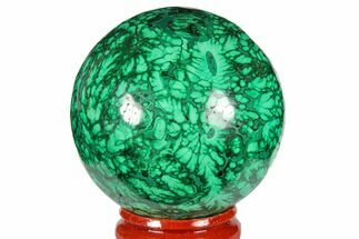 "1.95"" Flowery, Polished Malachite Sphere - Congo For Sale, #131834"