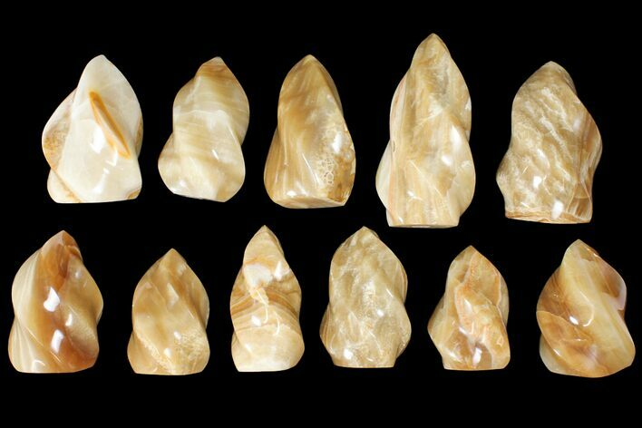 "Wholesale Lot: 3-5"" Polished Calcite ""Flames"" - 11 Pieces"