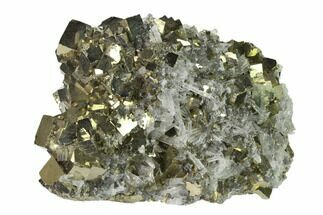 "4.4"" Cubic Pyrite & Quartz Crystal Association - Peru For Sale, #136196"