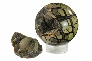 "6.5"" Polished Septarian Geode Sphere - Removable Section For Sale, #137936"
