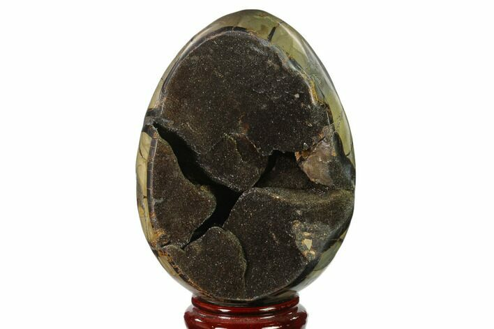 "7.4"" Septarian ""Dragon Egg"" Geode - Black Crystals"