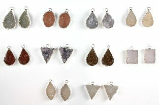 Buy Wholesale Lot: Druzy Quartz Pendants/Earrings - 10 Pairs - #140830
