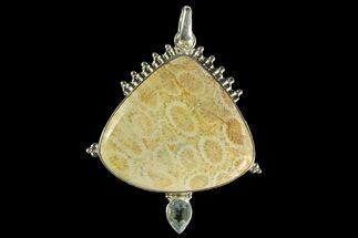 20 Million Year Old Fossil Coral Pendant- Sterling Silver & Blue Topaz For Sale, #142295
