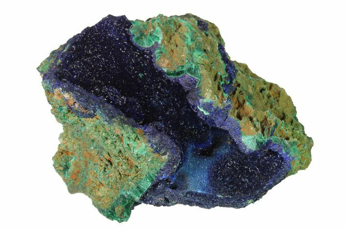 "2.7"" Sparkling Azurite Crystals With Malachite - Laos"