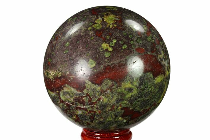 "2.7"" Polished Dragon's Blood Jasper Sphere - South Africa"