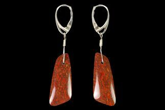 Rich, Red Agatized Dinosaur Bone (Gembone) Earrings For Sale, #146266