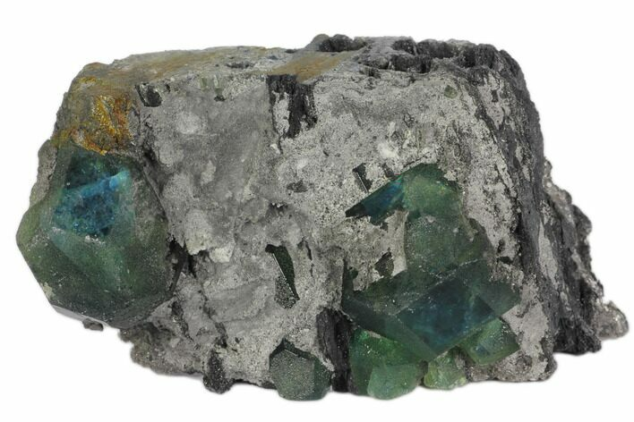 "4"" Blue-Green Cuboctohedral Fluorite Crystals - China"